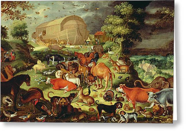 Noahs Ark Paintings Greeting Cards - The Animals Entering The Ark Greeting Card by Jacob II Savery