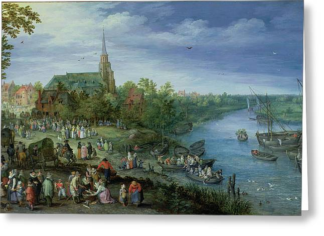 Fishmongers Greeting Cards - The Annual Parish Fair In Schelle, 1614 Greeting Card by Jan the Elder Brueghel
