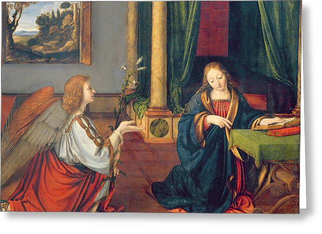 Knelt Photographs Greeting Cards - The Annunciation, 1506 Oil On Panel Greeting Card by Andrea Solario