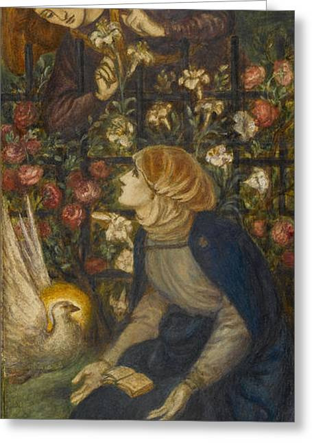Virgin Mary Drawings Greeting Cards - The Annunciation, 1861 Greeting Card by Dante Gabriel Charles Rossetti