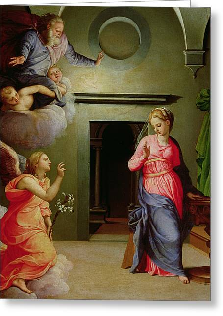 Archangel Greeting Cards - The Annunciation Greeting Card by Agnolo Bronzino