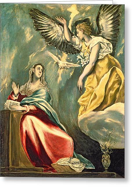 Testament Greeting Cards - The Annunciation, C.1595-1600 Oil On Canvas Greeting Card by El Greco