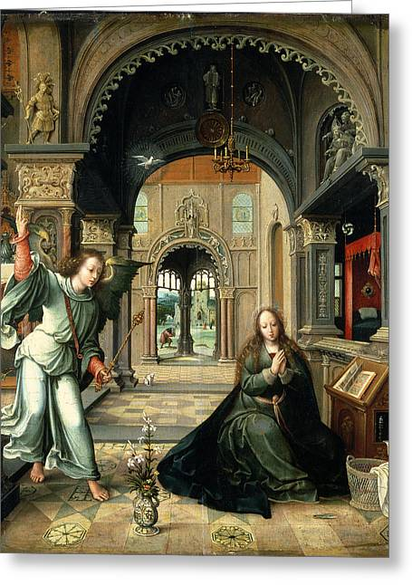 Candelabra Greeting Cards - The Annunciation, Early 16th Century Greeting Card by Bernart van Orley