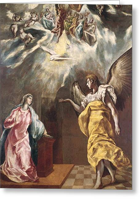 Old Masters Greeting Cards - The Annunciation Greeting Card by El Greco Domenico Theotocopuli
