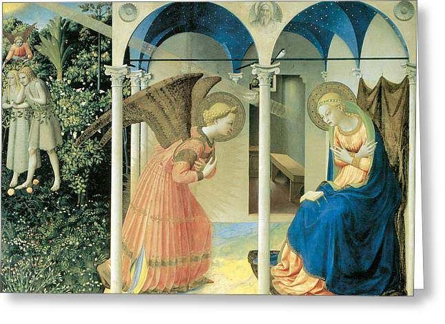 Fra Greeting Cards - The Annunciation Greeting Card by Fra Angelico