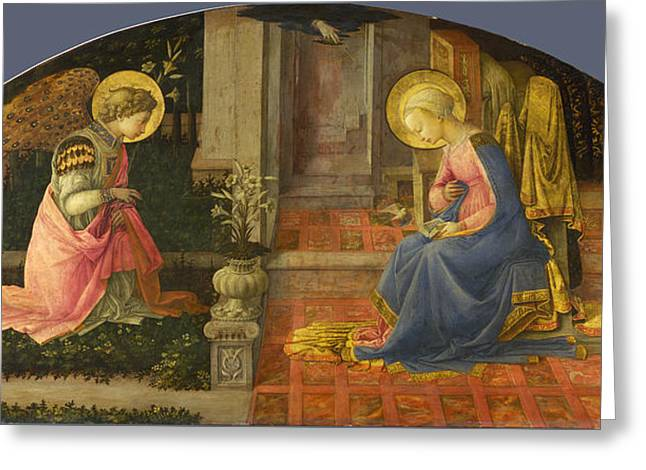 Fra Greeting Cards - The Annunciation Greeting Card by Fra Filippo Lippi