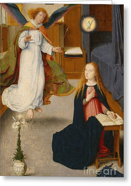 Reverence Greeting Cards - The Annunciation Greeting Card by Gerard David