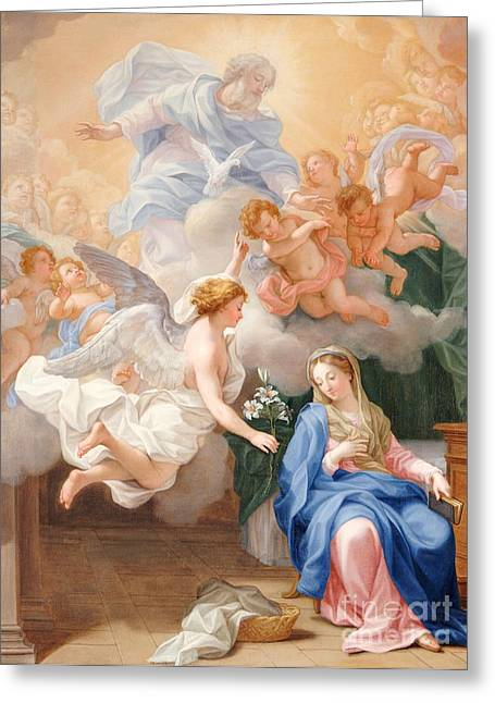 Appearances Greeting Cards - The Annunciation Greeting Card by Giovanni Odazzi
