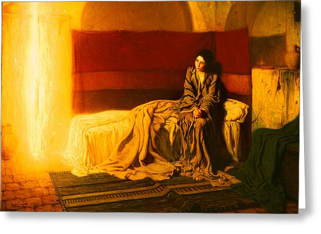Historic Home Paintings Greeting Cards - The Annunciation Greeting Card by Henry Tanner