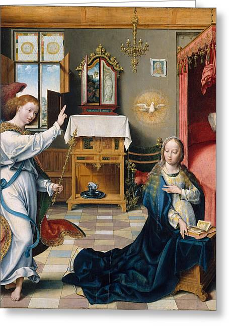 Cleves Greeting Cards - The Annunciation Greeting Card by Joos van Cleve