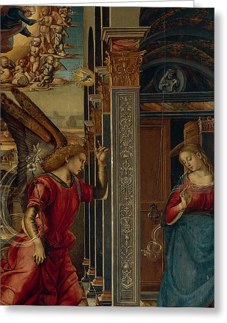 Archangel Greeting Cards - The Annunciation Greeting Card by Luca Signorelli