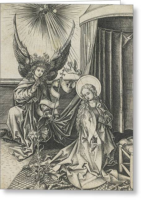 Virgin Mary Drawings Greeting Cards - The Annunciation Greeting Card by Martin Schongauer