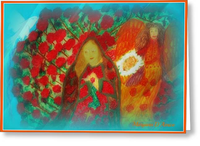 Religious Pastels Greeting Cards - The Annunciation Greeting Card by Maryann  DAmico