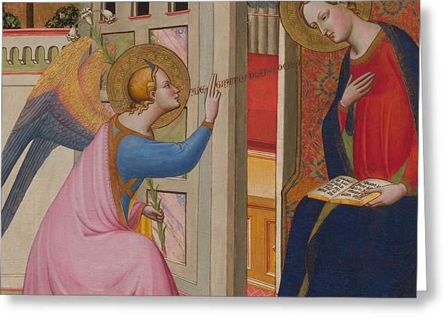 God The Father Greeting Cards - The Annunciation Greeting Card by Master of Saint Verdiana