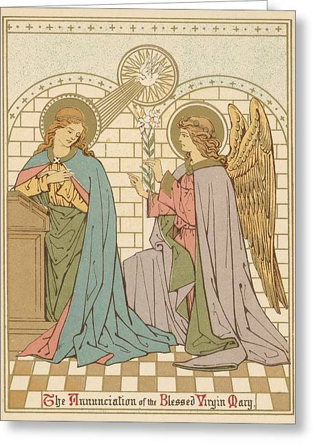 Virgin Mary Drawings Greeting Cards - The Annunciation of the Blessed Virgin Mary Greeting Card by English School