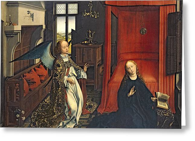 Archangel Greeting Cards - The Annunciation Oil On Panel Greeting Card by Rogier van der Weyden