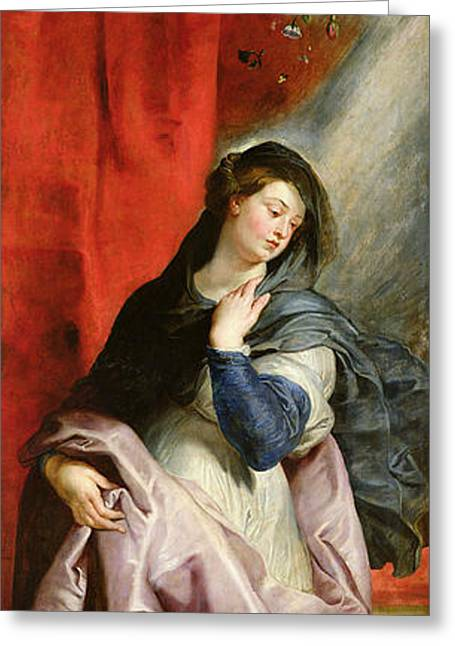 Religious Angel Art Greeting Cards - The Annunciation Greeting Card by Peter Paul Rubens