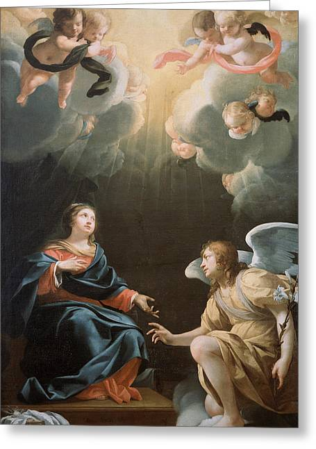 Archangel Greeting Cards - The Annunciation Greeting Card by Simon Vouet