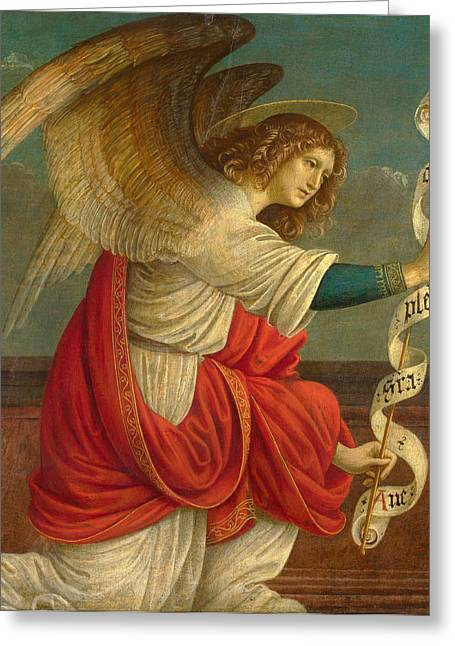 Gabriel The Angel Greeting Cards - The Annunciation. The Angel Gabriel Greeting Card by Gaudenzio Ferrari