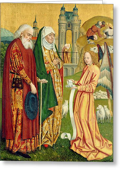 Gabriel The Angel Greeting Cards - The Annunciation To Joachim And Anne, From The Dome Altar, 1499 Tempera On Panel Greeting Card by Absolon Stumme