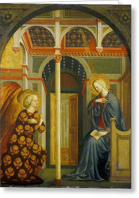 Archangel Greeting Cards - The Annunciation Greeting Card by Tommaso Masolino da Panicale