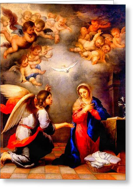 Religious Art Paintings Greeting Cards - The Annunciation Greeting Card by Victor Gladkiy