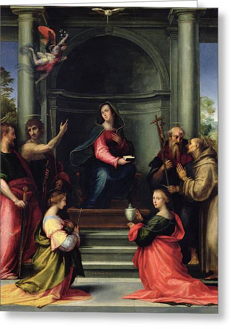 Virgin Mary Photographs Greeting Cards - The Annunciation With Saints, 1515 Oil On Panel Greeting Card by Fra Bartolommeo