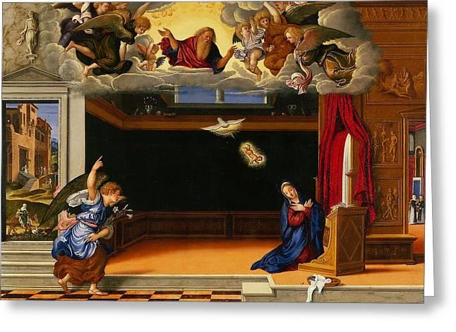 Virgin Mary Greeting Cards - The Annunnciation Greeting Card by Girolamo da Santacroce
