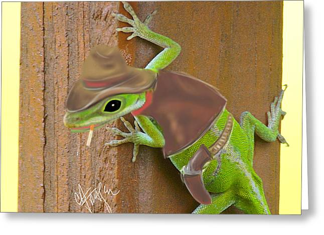 Basement Art Digital Art Greeting Cards - The Anole Cowboy Greeting Card by Chris Fraser