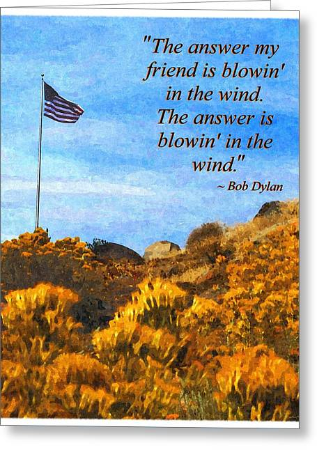 Glory Honor Greeting Cards - The Answer Is Blowing in the Wind Greeting Card by Glenn McCarthy Art and Photography