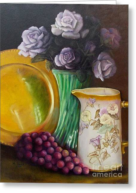 Pitcher Of Roses Greeting Cards - The Antique Pitcher Greeting Card by Marlene Book