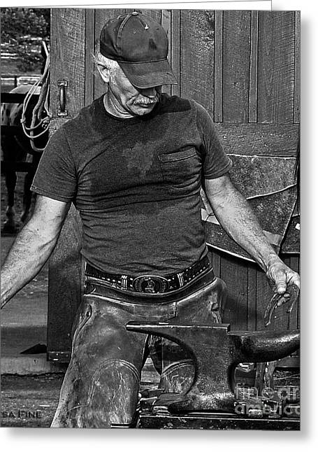 Farm Greeting Cards - The Anvil and the Horseshoe BW Greeting Card by Lesa Fine