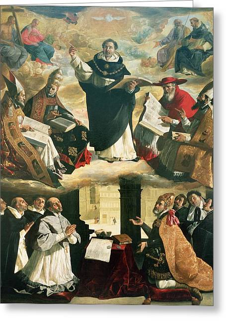 Dominican Greeting Cards - The Apotheosis Of St. Thomas Aquinas, 1631 Oil On Canvas Greeting Card by Francisco de Zurbaran