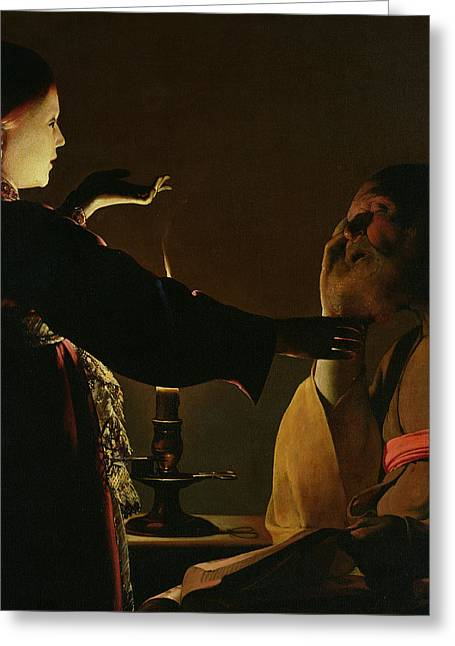 Shaking Greeting Cards - The Appearance of the Angel to Saint Joseph Greeting Card by Georges de la Tour