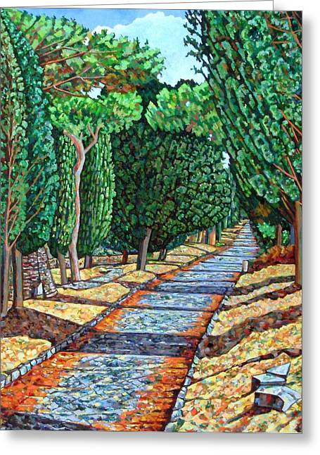 Walk The Line Greeting Cards - The Appia Antica Greeting Card by Noel Paine