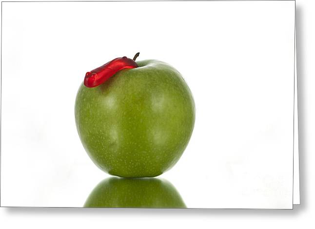Fresh Green Photographs Greeting Cards - The Apple and the Worm Greeting Card by Juli Scalzi