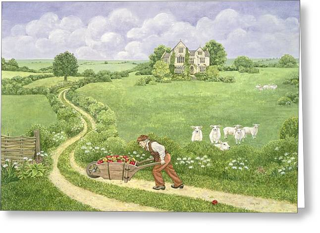 Pushing Greeting Cards - The Apple Barrow Greeting Card by Ditz