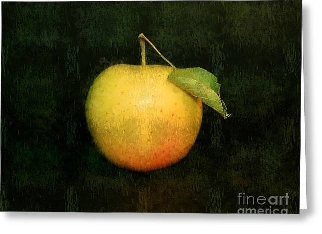 Green And Yellow Pyrography Greeting Cards - The Apple Greeting Card by Linda Veit