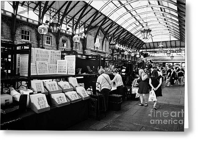 Jewellery Greeting Cards - the apple market inside covent garden market London England UK Greeting Card by Joe Fox