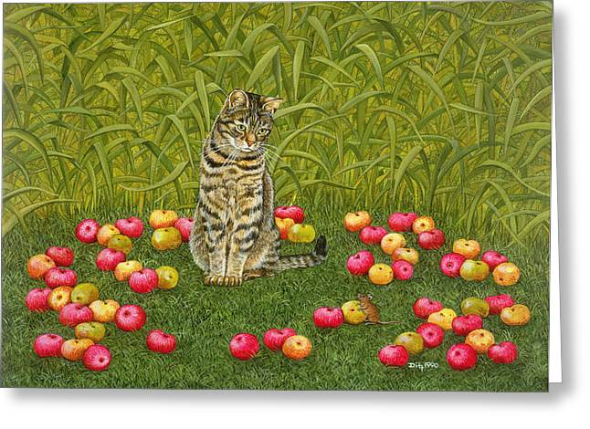 Farm Cat Greeting Cards - The Apple Mouse Greeting Card by Ditz