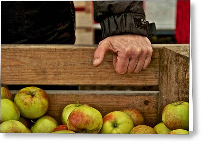 Apple Crates Greeting Cards - The Apple Seller Greeting Card by Odd Jeppesen