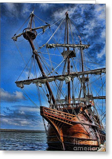 Old Ship Art Greeting Cards - The Approaching Storm - Spanish Galleon Greeting Card by Lee Dos Santos