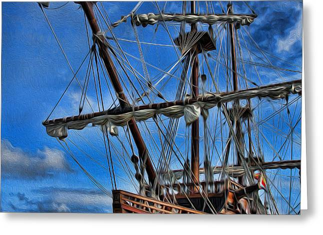The Approaching Storm - Spanish Galleon Greeting Card by Lee Dos Santos