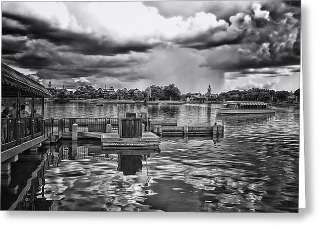 World Showcase Lagoon Greeting Cards - The Approaching Storm Walt Disney World BW Greeting Card by Thomas Woolworth