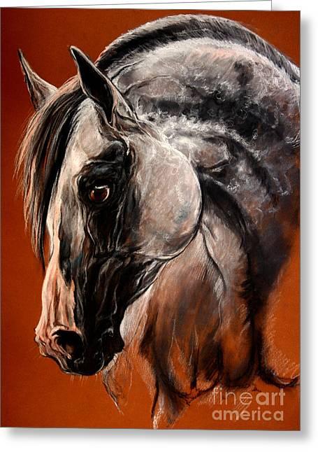 Stallion Pastels Greeting Cards - The Arabian Horse Greeting Card by Angel  Tarantella