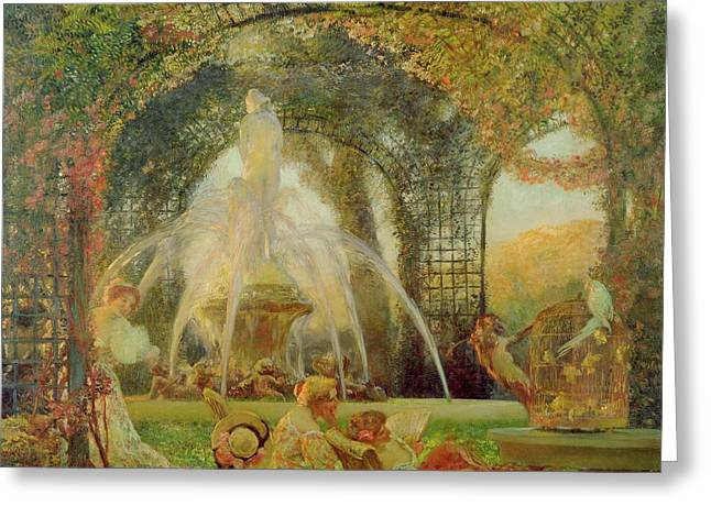 Trellis Paintings Greeting Cards - The Arbor Greeting Card by Gaston De la Touche