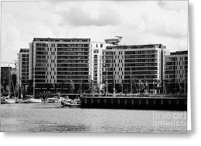 Abercorn Greeting Cards - the arc apartments and Belfast harbour marina queens island titanic quarter Northern Ireland UK Greeting Card by Joe Fox