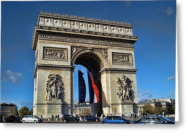 Greeting Cards - The Arc de Triomphe de Etoile  Greeting Card by Paris  France
