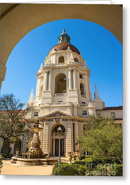 Front Entrance Greeting Cards - The Arch - Pasadena City Hall. Greeting Card by Jamie Pham