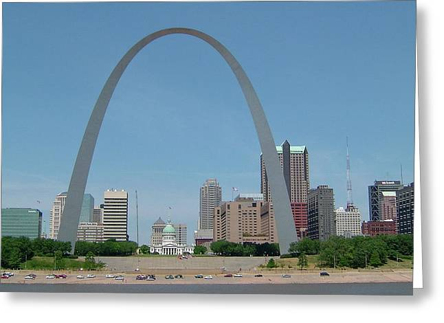 Dred Scott Greeting Cards - The Arch and the Courthouse Greeting Card by Susan Wyman
